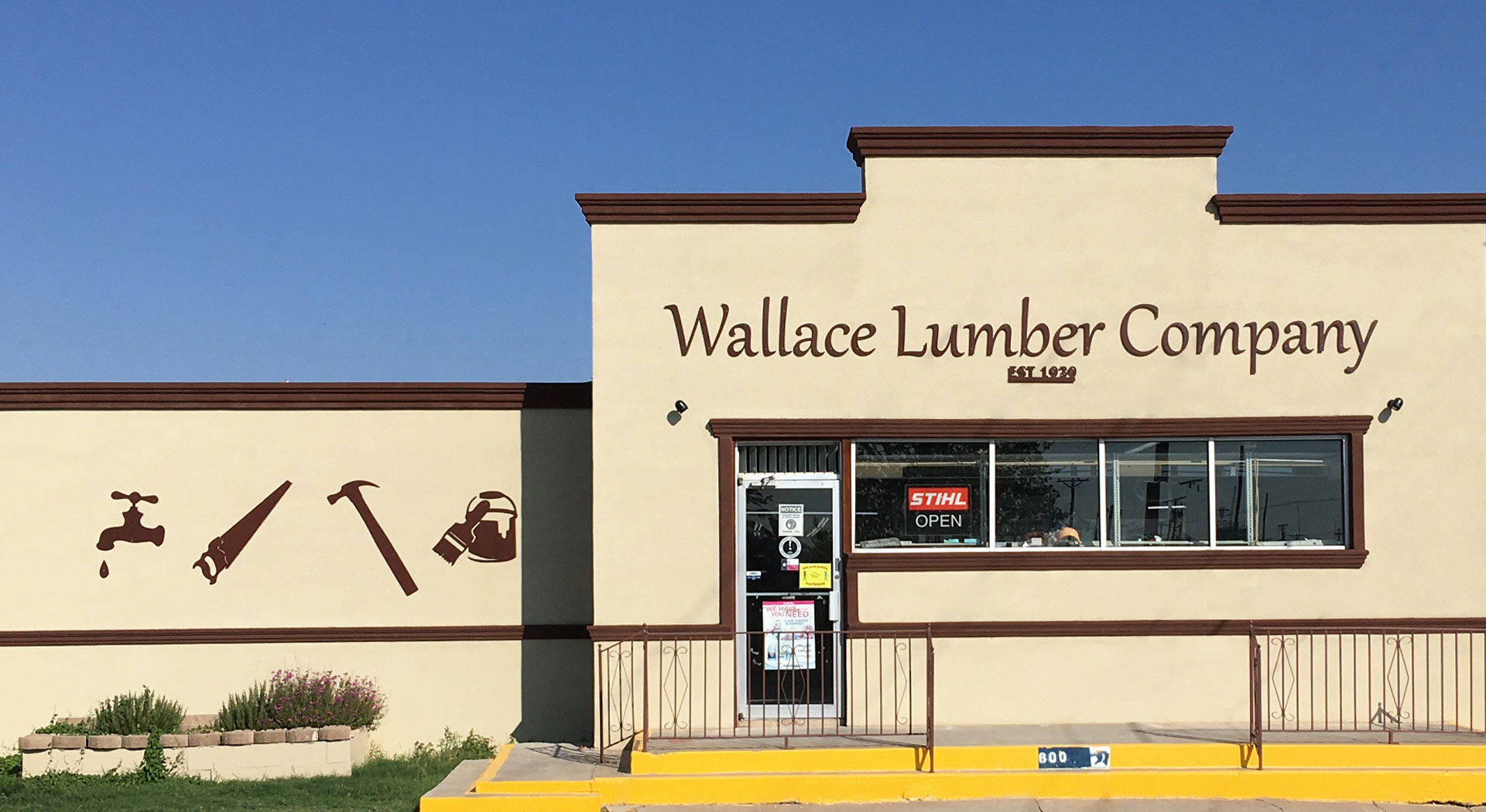 Wallace Lumber Company storefront, which is located in Fort Stockton, Texas, at 600 N. Nelson