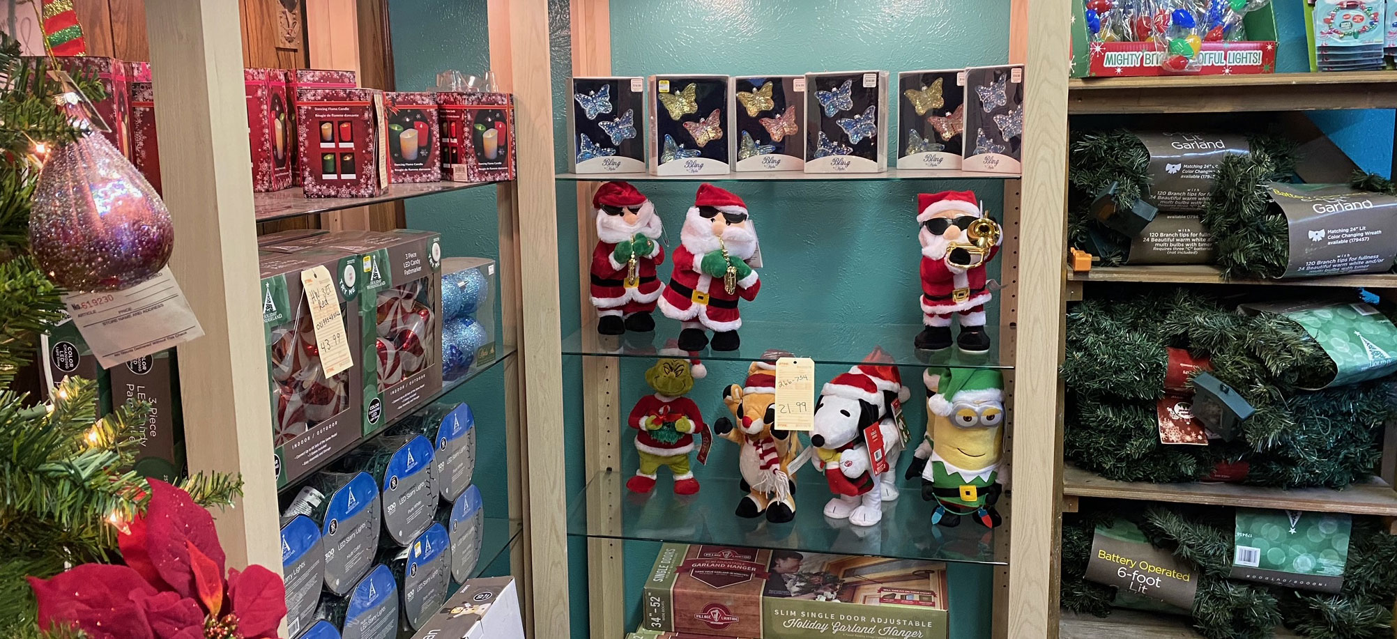 Beautiful Christmas decor and ornaments at Wallace Lumber Company